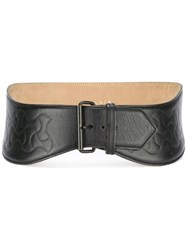 Alaia Vintage High Waist Embossed Belt Black