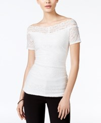 Amy Byer Bcx Juniors' Off The Shoulder Lace Top Off White