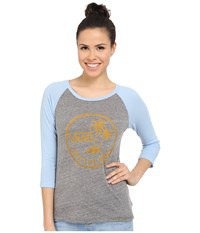 Vans Authentic Surf Raglan Grey Heather Blue Bell Women's Long Sleeve Pullover Gray