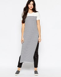 Wal G Longline Tunic In Stripe With Side Slits Navy