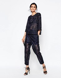 Ganni City Hall Lace Peg Trousers In Dress Blues Dress Blues