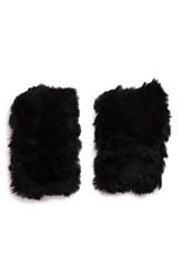 Women's Jocelyn Genuine Rabbit Fur Fingerless Mittens Black