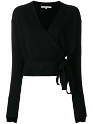 Helmut Lang Cashmere Wrapped Blouse Black