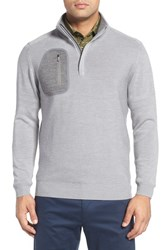 Bobby Jones Men's 'Elements' Merino Wool Quarter Zip Pullover Graphite