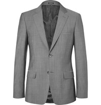 Alexander Mcqueen Grey Slim Fit Wool And Mohair Blend Suit Jacket Gray