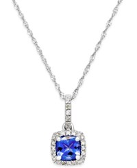 Macy's Tanzanite 5 8 Ct. T.W. And Diamond 1 8 Ct. T.W. Pendant Necklace In 14K White Gold