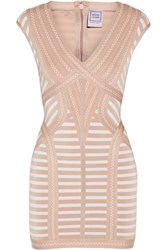 Herve Leger Katina Stretch Jacquard Knit Mini Dress Sand