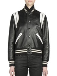 Saint Laurent Leather Bomber Jacket Black White