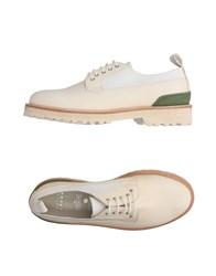 Leather Crown Lace Up Shoes Beige