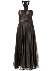 Maria Lucia Hohan Draped Dress Women Silk Nylon Spandex Elastane 36 Brown