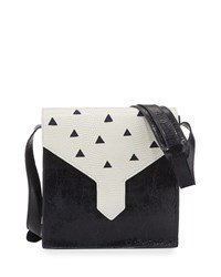 Margot Leather Cutout Shoulder Bag Navy Lauren Merkin