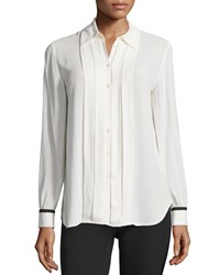 See By Chloe Button Front Pleated Blouse Ivory