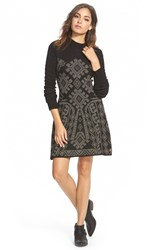 Element 'Maren' Jacquard Sweater Dress Black