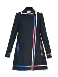 Marco De Vincenzo Multicoloured Ombre Leather Seams Wool Coat