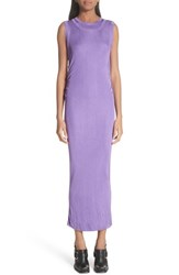 Atlein Ruched Side Layered Rib Knit Dress Lilas