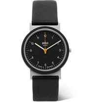 Braun Aw 10 Stainless Steel And Leather Watch Black