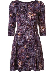 Suno Flared Paisley Print Dress Pink And Purple