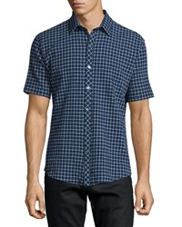 Zachary Prell Windowpane Short Sleeve Woven Sport Shirt Navy Men's