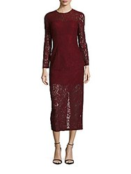 Cynthia Rowley Delicate Fitted Lace Dress Burgundy