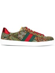 Gucci Ace Floral Embroidered Sneakers Green