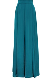Roksanda Ilincic Alia Pleated Duchesse Satin Maxi Skirt Blue