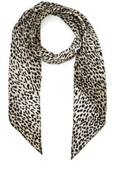 Saint Laurent Babycat Print Scarf In Gray Animal Print Gray Animal Print