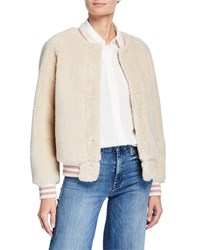 Mother The Snap Letterman Faux Fur Bomber Jacket Cream