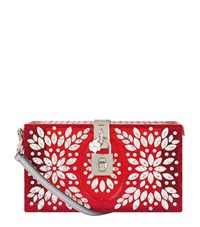 Dolce And Gabbana Crystal Embellished Box Clutch Female Red