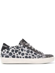 Leather Crown Animal Print Snearkers Grey