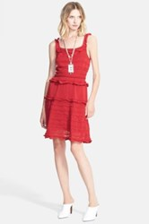 Lanvin Sheer Contrast Knit Tank Dress Red