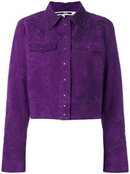 Mcq By Alexander Mcqueen Embroidered Suede Jacket Pink Purple