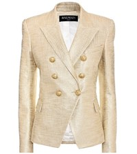 Balmain Metallic Cotton Blazer Gold