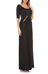 Kay Unger Twist Mikado Column Gown Black