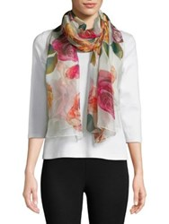 Collection 18 Rose Print Scarf Ivory