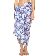 Hat Attack Printed Sarong Cover Up Blue Medallion Scarves