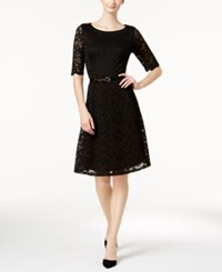 Charter Club Petite Belted Lace Dress Created For Macy's Deep Black