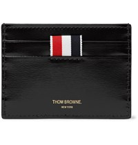 Thom Browne Striped Patent Leather Cardholder Black