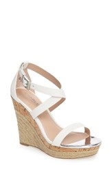 Charles By Charles David Women's Aden Platform Wedge Sandal White Leather