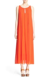 Women's Fuzzi Front Keyhole Tulle Maxi Dress Red