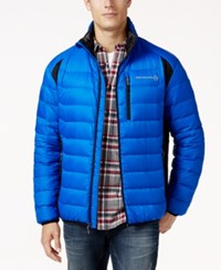 Free Country Men's Tech Panel Down Puffer Coat Bright Blue