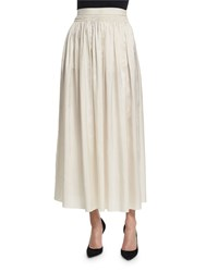 The Row Tovo High Waist Silk Full Midi Skirt Old Lace
