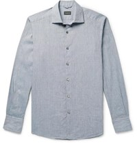 Ermenegildo Zegna Puppytooth Cotton Shirt Blue