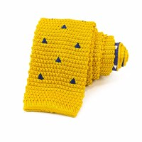 40 Colori Yellow Embroidered Triangles Silk Knitted Tie Gold