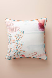 Anthropologie Abstract Watercolor Pillow Cream