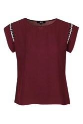 Better Off Maroon Chiffon Top With Trim On Sleeve By Goldie