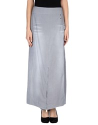Oblique Skirts Long Skirts Women Sky Blue