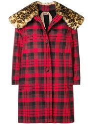 N 21 No21 Faux Fur Collar Checked Coat Red
