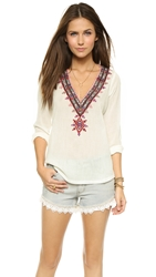 Twelfth St. By Cynthia Vincent V Neck Embroidered Top Ivory