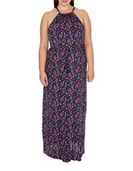 Lucky Brand Plus Floral Printed Long Dress Multi