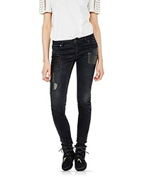 Maje Patchy Leather Patch Skinny Jeans Black
